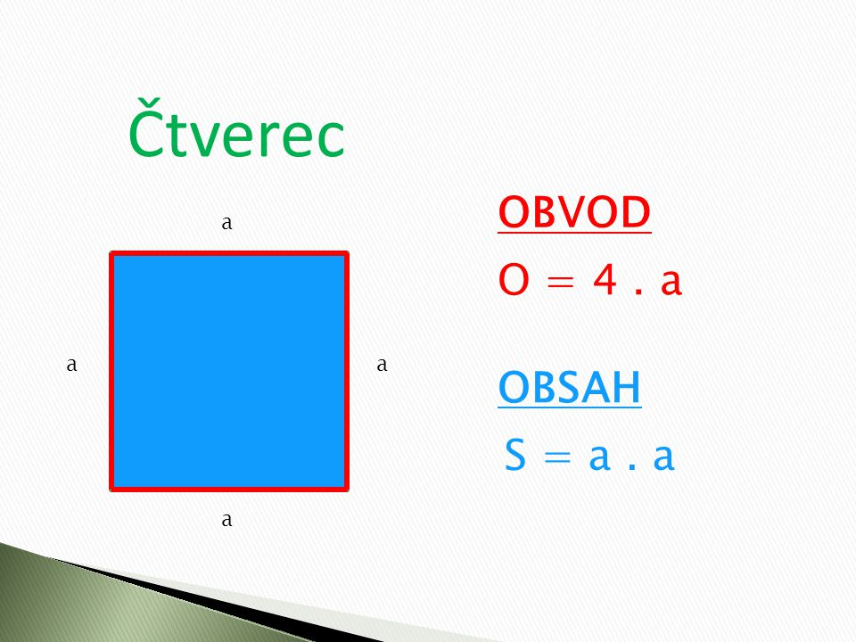 Čtverec OBVOD a O = 4 . a a a OBSAH S = a . a a