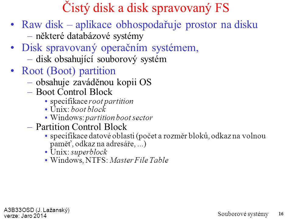 Čistý disk a disk spravovaný FS