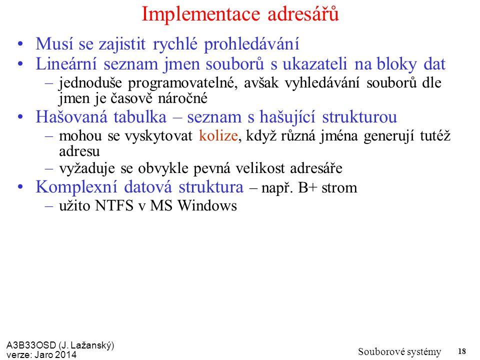 Implementace adresářů