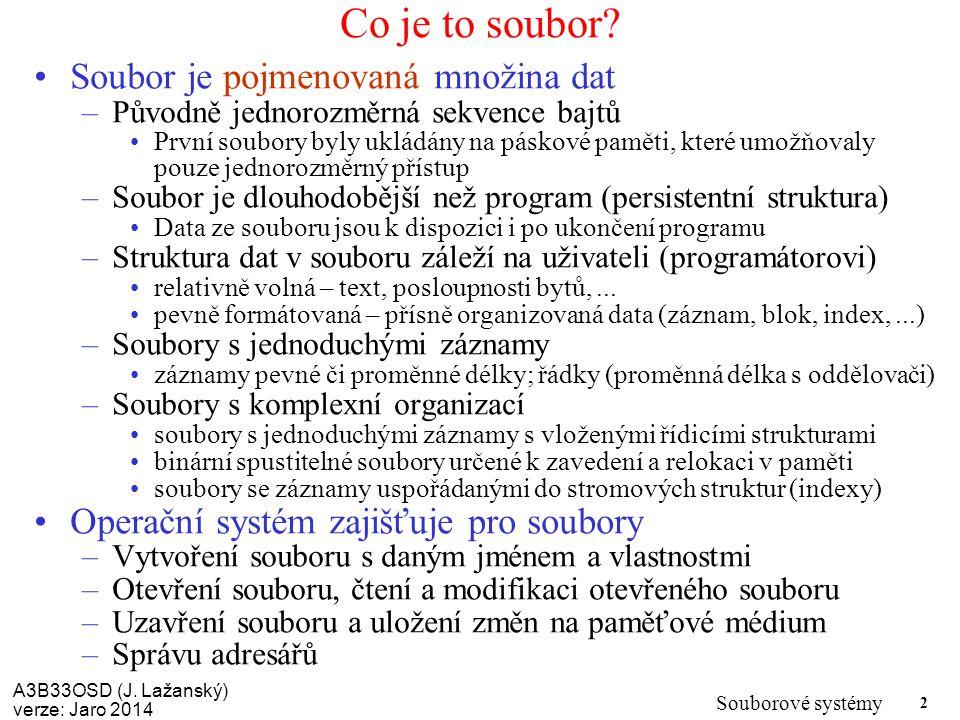 Co je to soubor Soubor je pojmenovaná množina dat