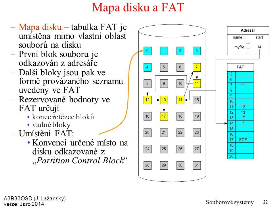 Mapa disku a FAT Mapa disku – tabulka FAT je umístěna mimo vlastní oblast souborů na disku. První blok souboru je odkazován z adresáře.
