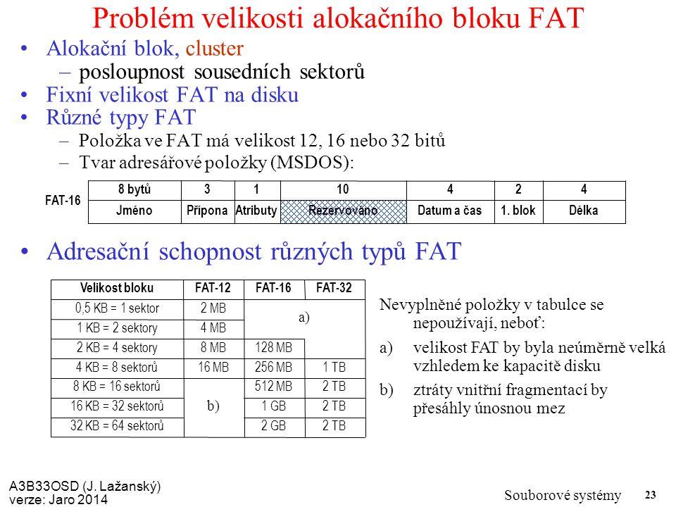 Problém velikosti alokačního bloku FAT