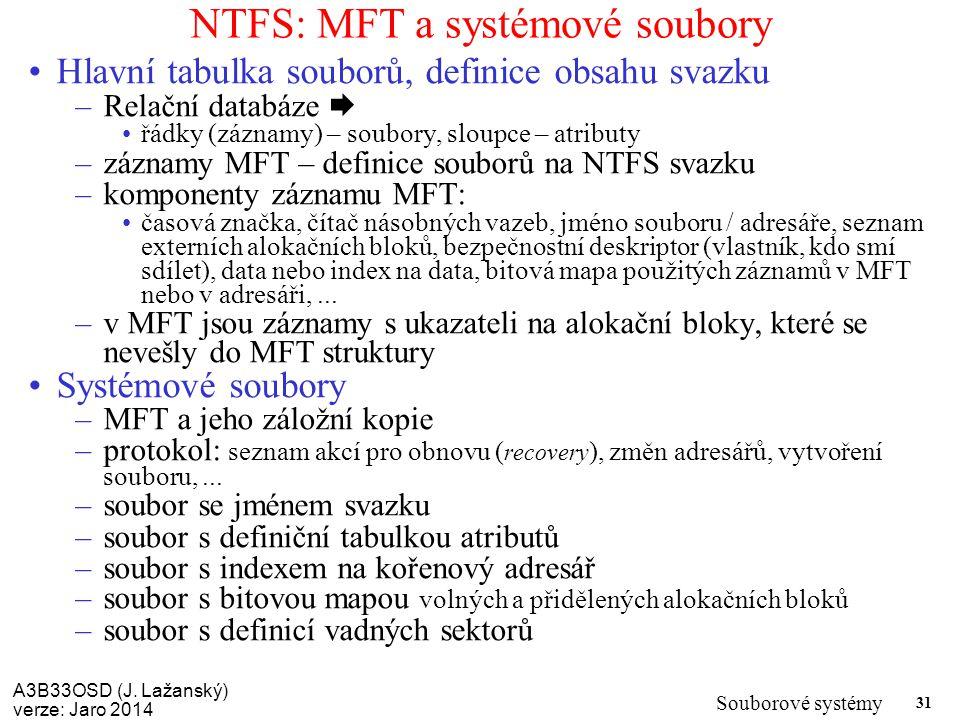 NTFS: MFT a systémové soubory