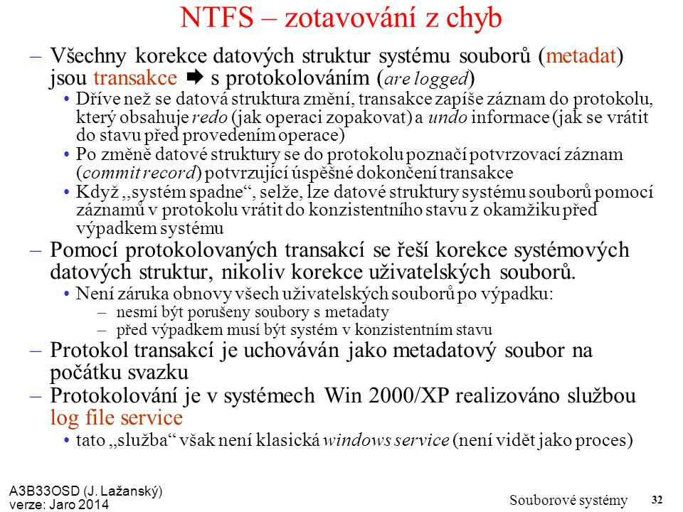 NTFS – zotavování z chyb
