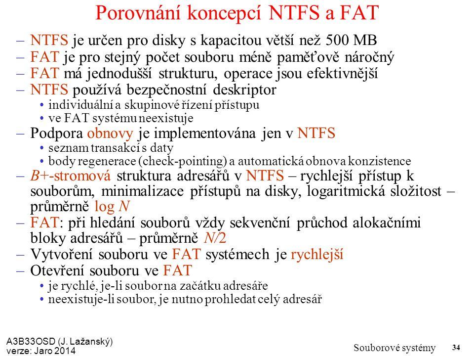 Porovnání koncepcí NTFS a FAT