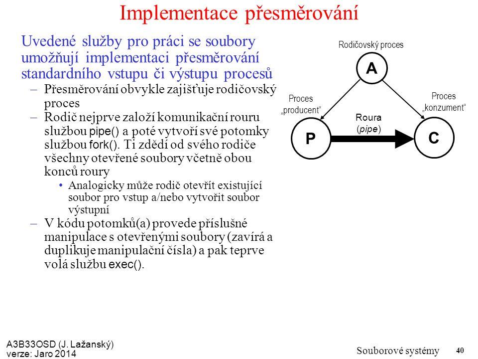 Implementace přesměrování