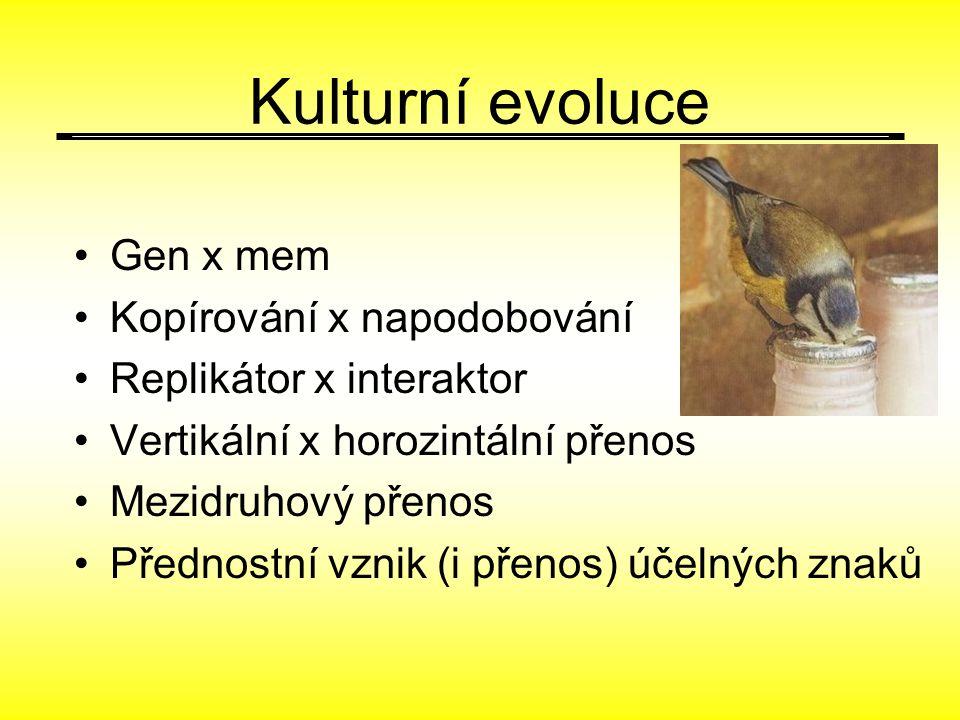 Kulturní evoluce Gen x mem Kopírování x napodobování