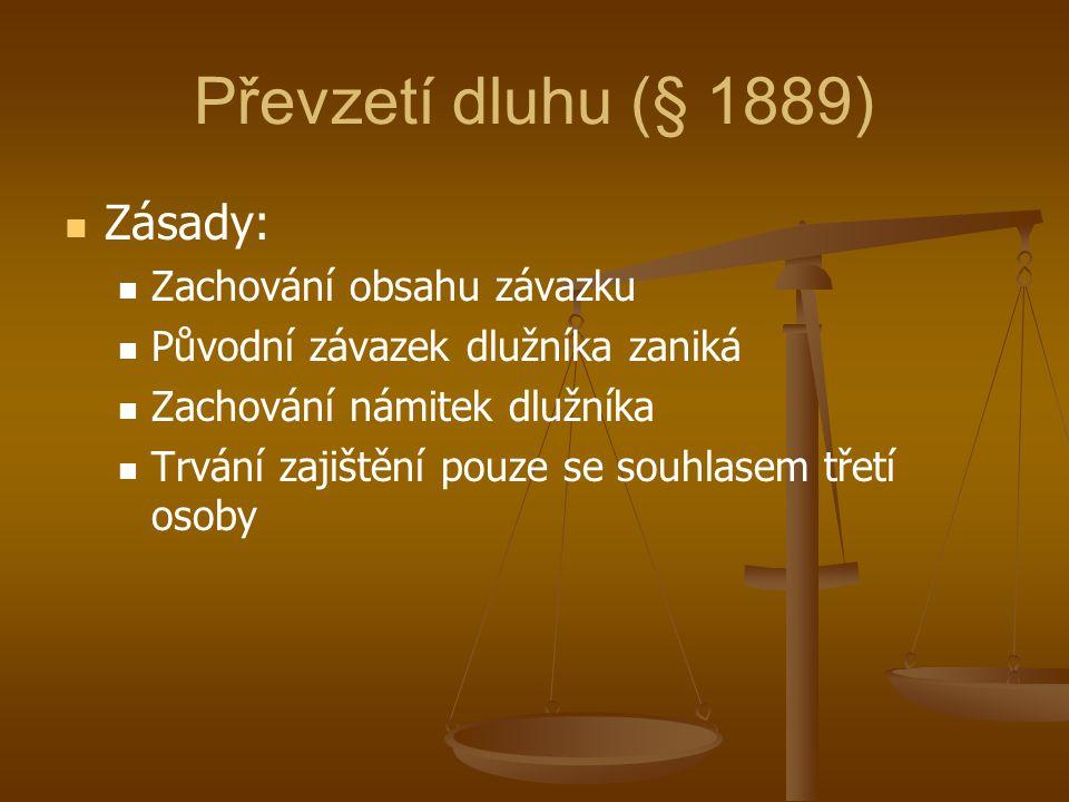 Převzetí dluhu (§ 1889) Zásady: Zachování obsahu závazku