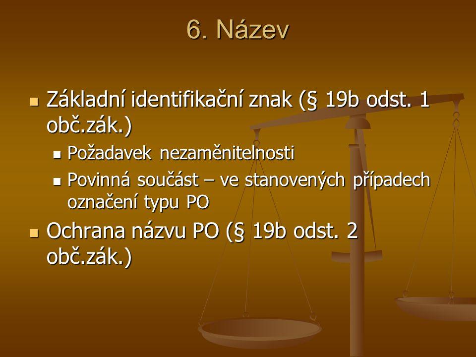 6. Název Základní identifikační znak (§ 19b odst. 1 obč.zák.)