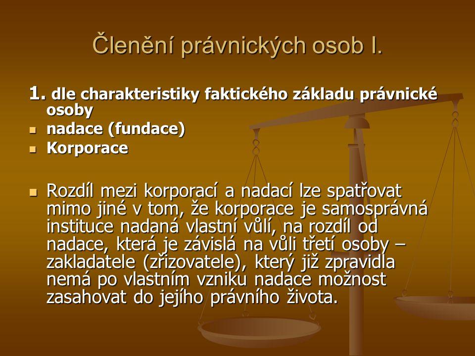 Členění právnických osob I.