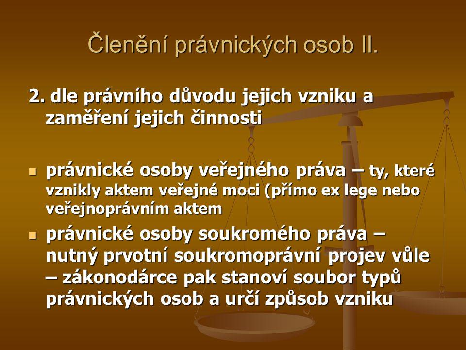Členění právnických osob II.