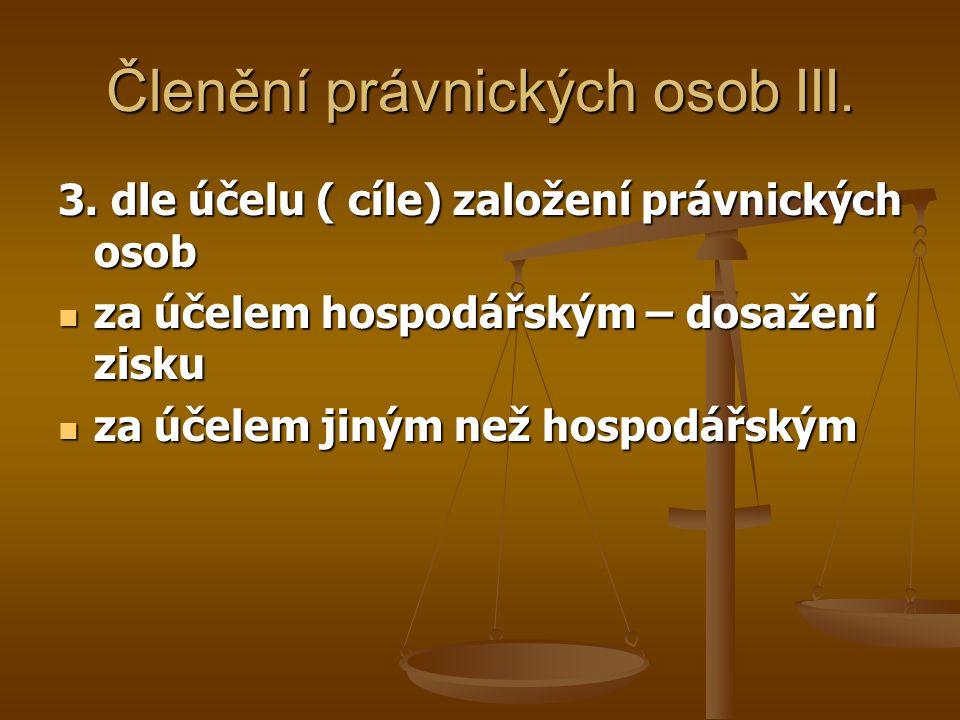 Členění právnických osob III.