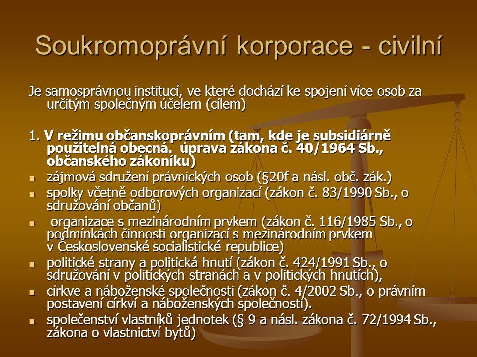 Soukromoprávní korporace - civilní