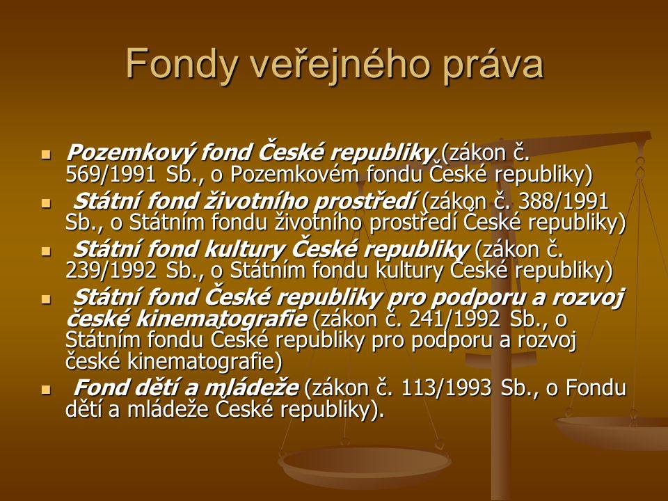 Fondy veřejného práva Pozemkový fond České republiky (zákon č. 569/1991 Sb., o Pozemkovém fondu České republiky)