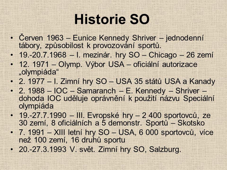 Historie SO Červen 1963 – Eunice Kennedy Shriver – jednodenní tábory, způsobilost k provozování sportů.