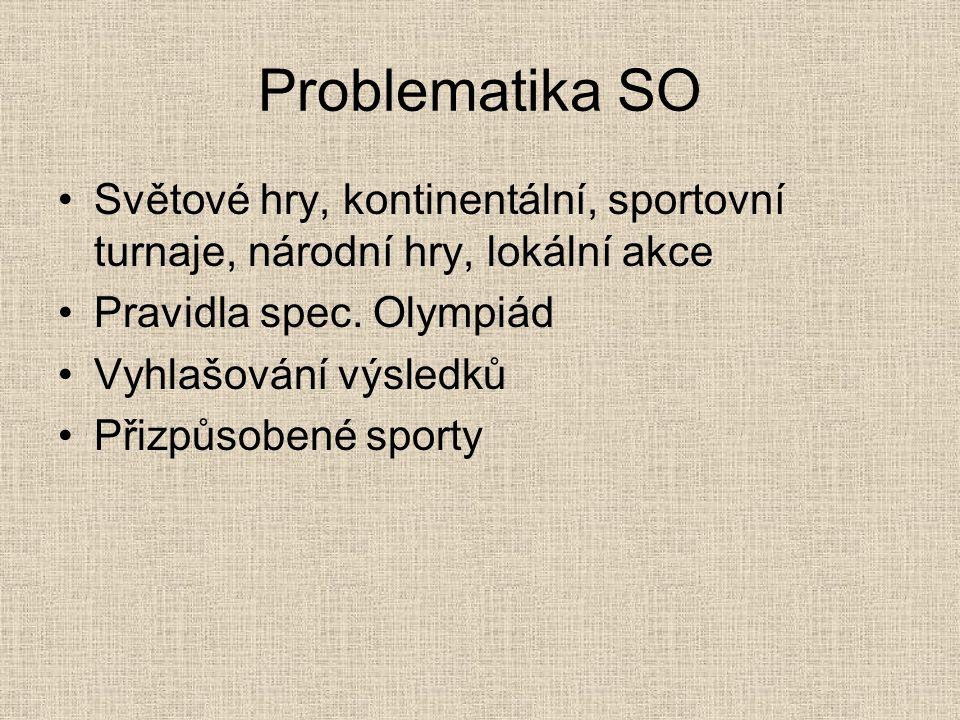 Problematika SO Světové hry, kontinentální, sportovní turnaje, národní hry, lokální akce. Pravidla spec. Olympiád.