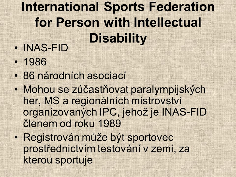 International Sports Federation for Person with Intellectual Disability