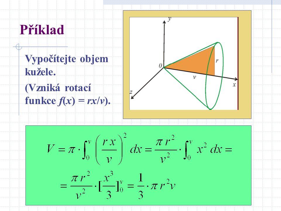 Příklad Vypočítejte objem kužele. (Vzniká rotací funkce f(x) = rx/v).