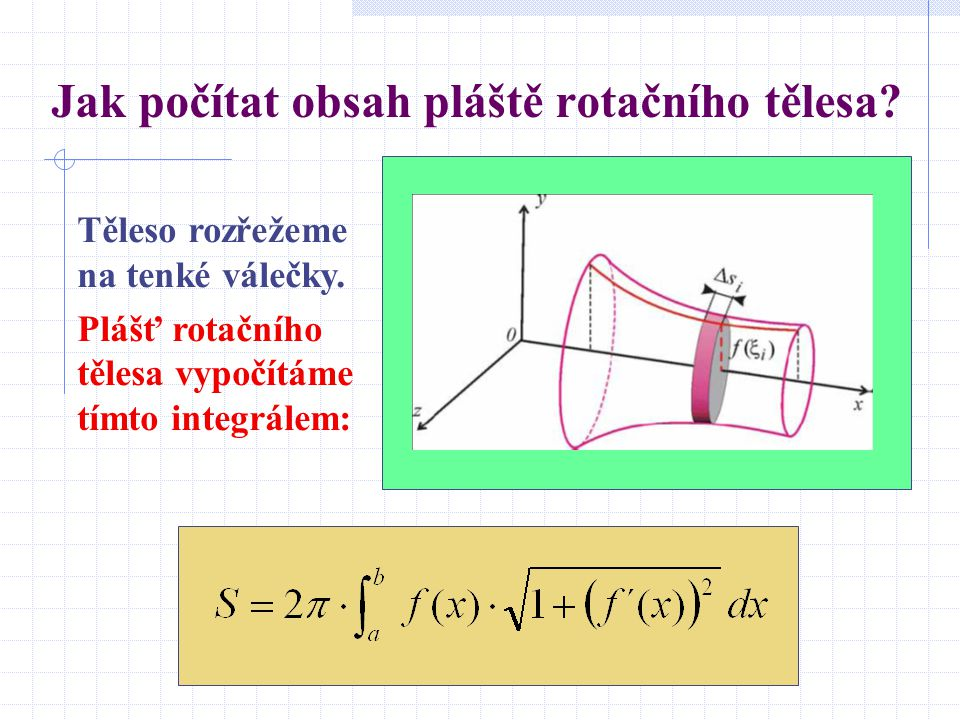 Jak počítat obsah pláště rotačního tělesa