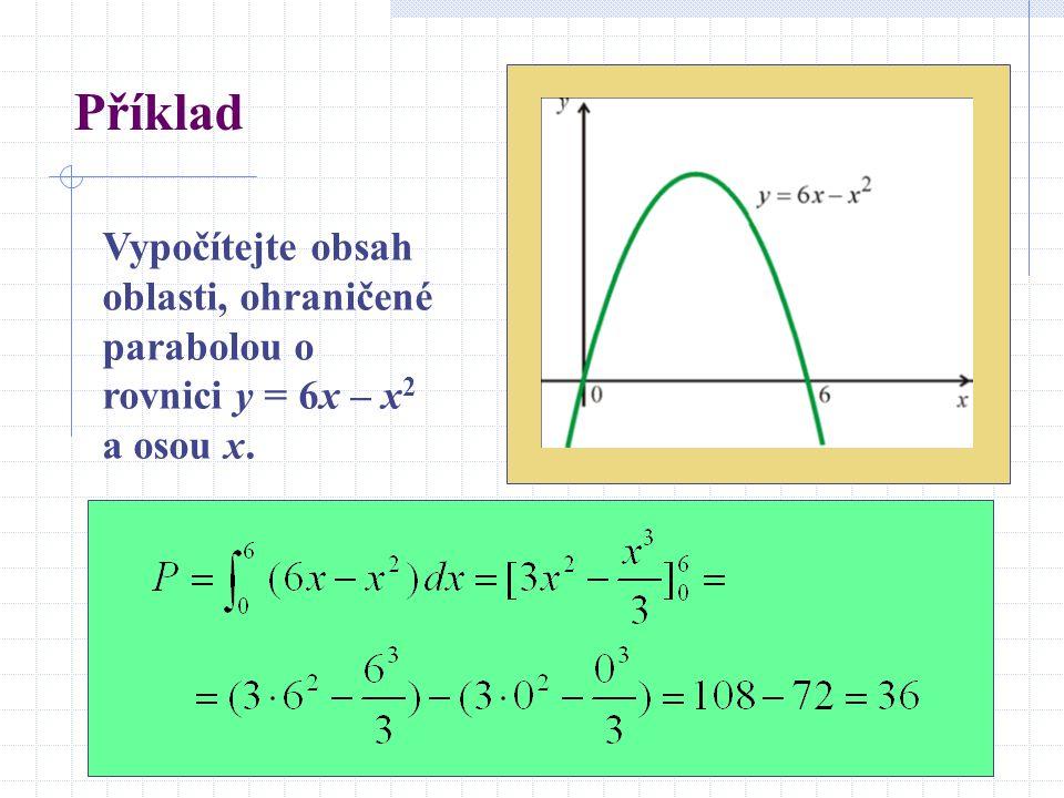 Příklad Vypočítejte obsah oblasti, ohraničené parabolou o rovnici y = 6x – x2 a osou x.