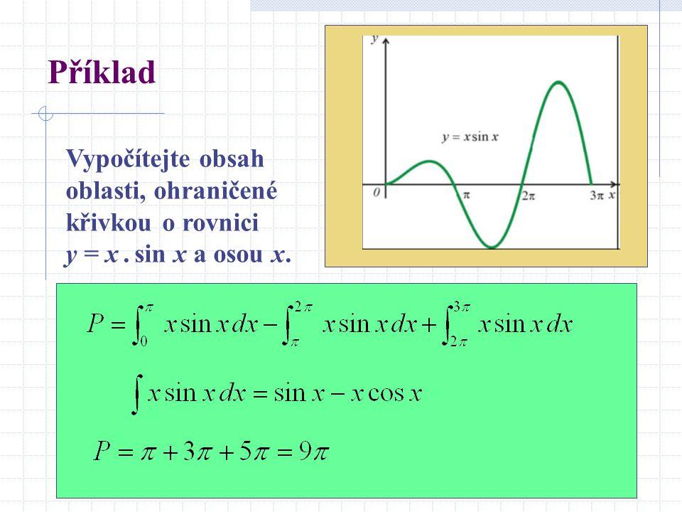 Příklad Vypočítejte obsah oblasti, ohraničené křivkou o rovnici y = x . sin x a osou x.