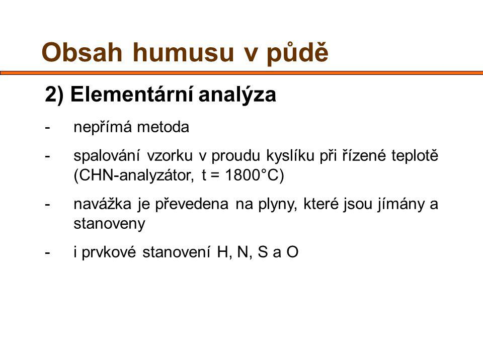 Obsah humusu v půdě 2) Elementární analýza nepřímá metoda
