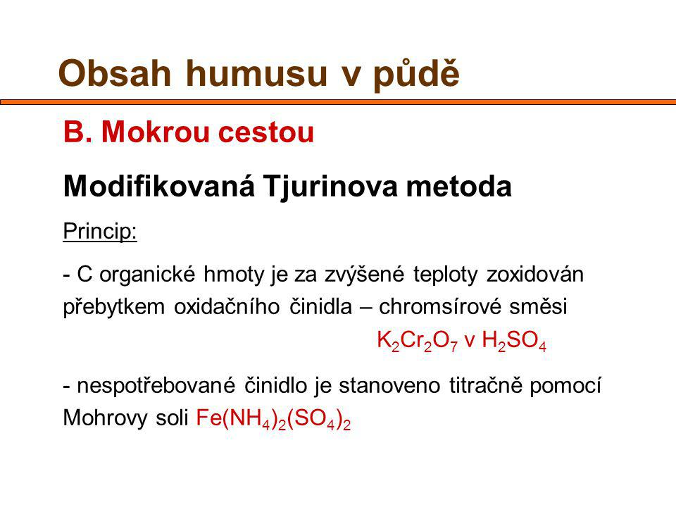 Obsah humusu v půdě B. Mokrou cestou Modifikovaná Tjurinova metoda