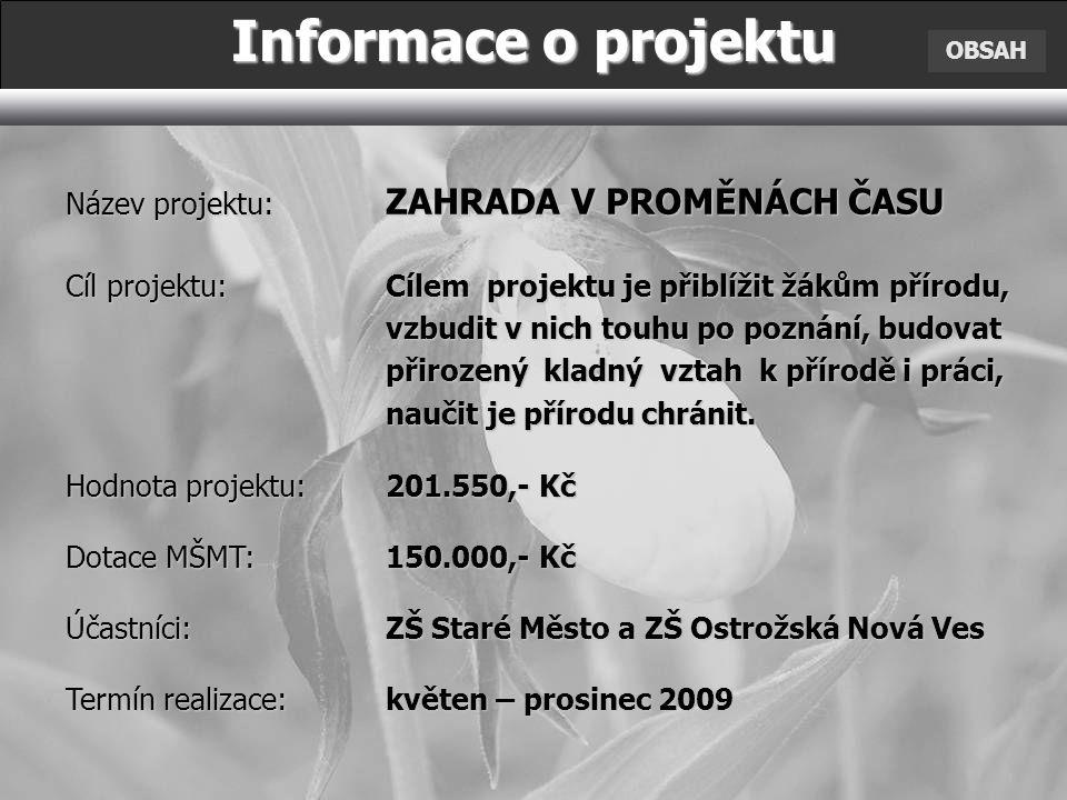 Informace o projektu Název projektu: ZAHRADA V PROMĚNÁCH ČASU