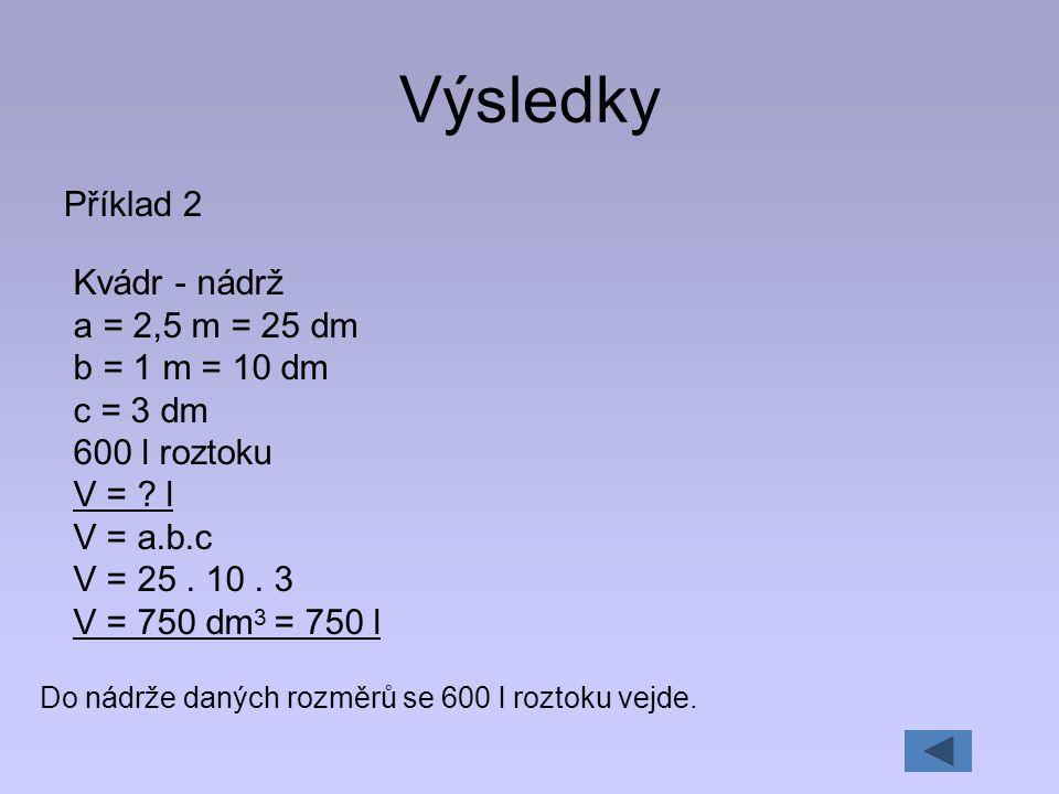 Výsledky Příklad 2 Kvádr - nádrž a = 2,5 m = 25 dm b = 1 m = 10 dm