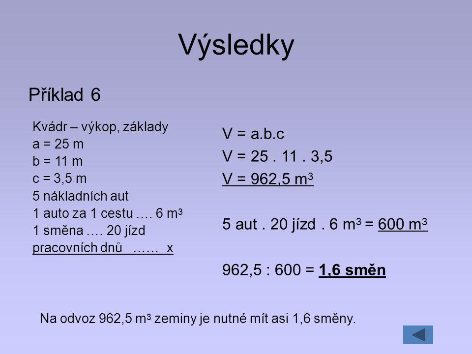 Výsledky Příklad 6 V = a.b.c V = 25 . 11 . 3,5 V = 962,5 m3