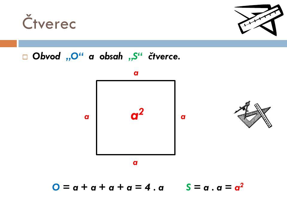 "Čtverec a2 Obvod ""O a obsah ""S čtverce."
