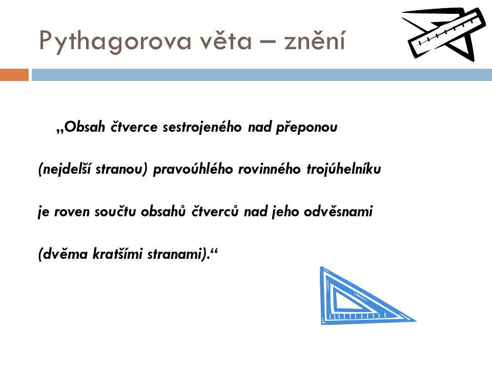 Pythagorova věta – znění