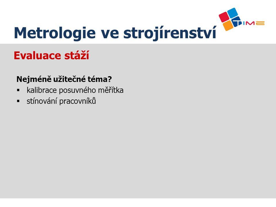 Název prezentace Metrologie ve strojírenství Evaluace stáží