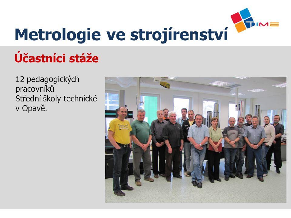 Název prezentace Metrologie ve strojírenství Účastníci stáže