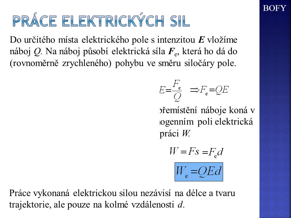 Práce elektrických sil