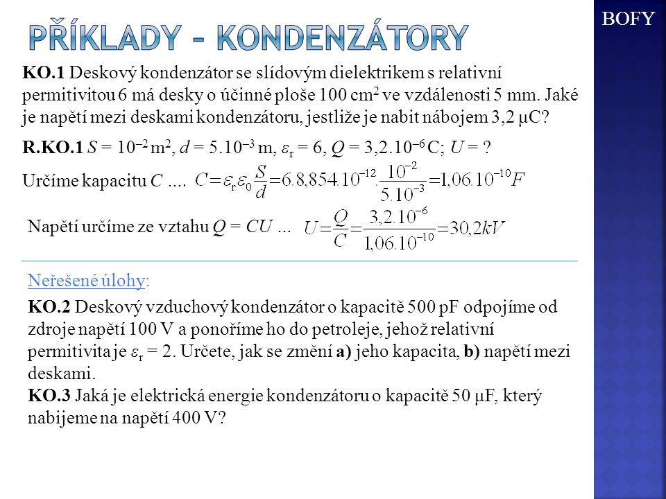 Příklady – kondenzátory