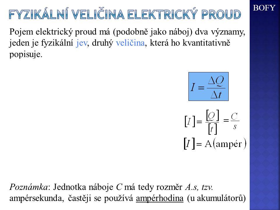 - Fyzikální veličina elektrický proud S - obsah průřezu +