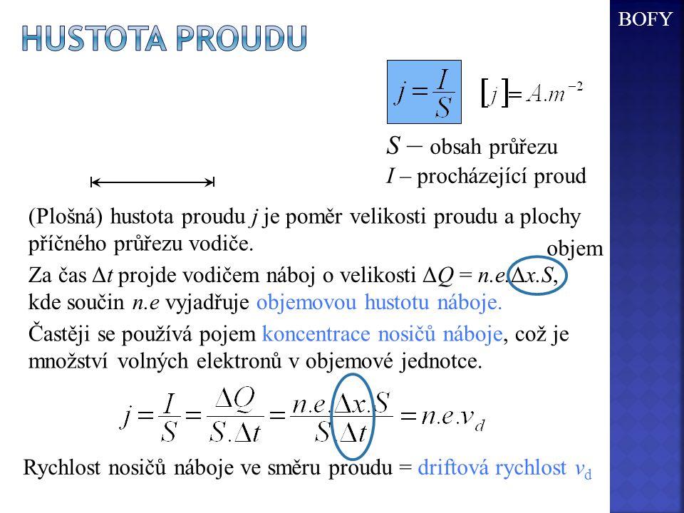 Hustota proudu S – obsah průřezu I – procházející proud Δx