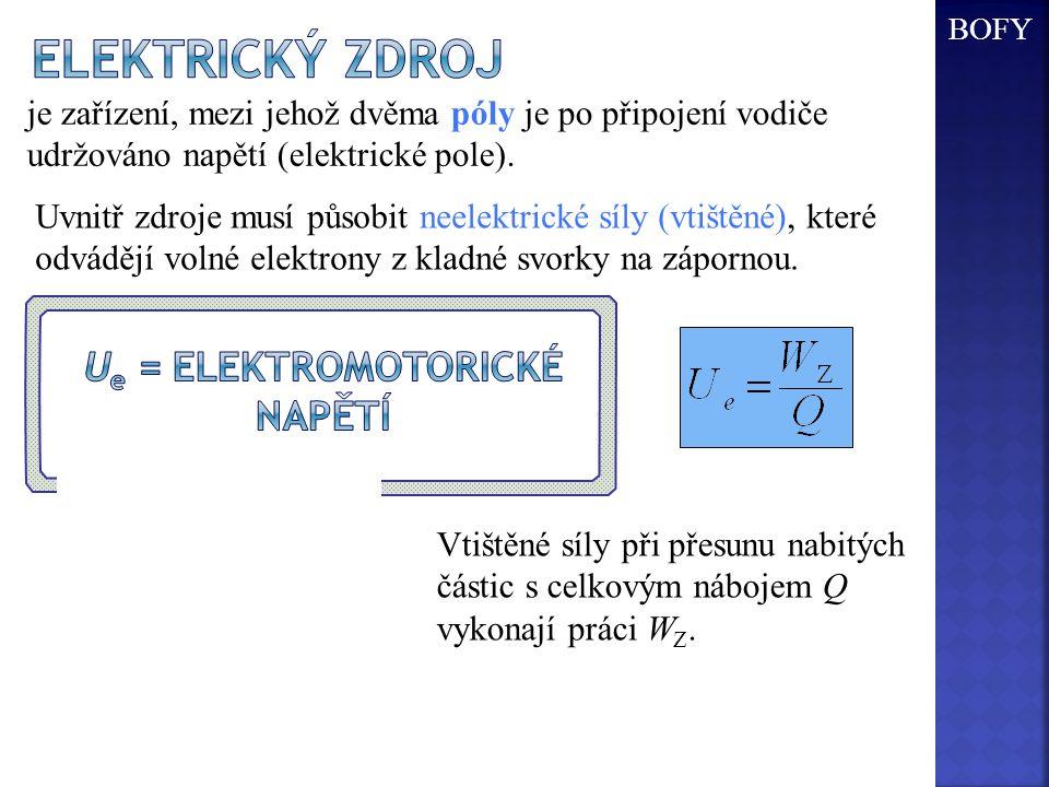 Ue = elektromotorické napětí