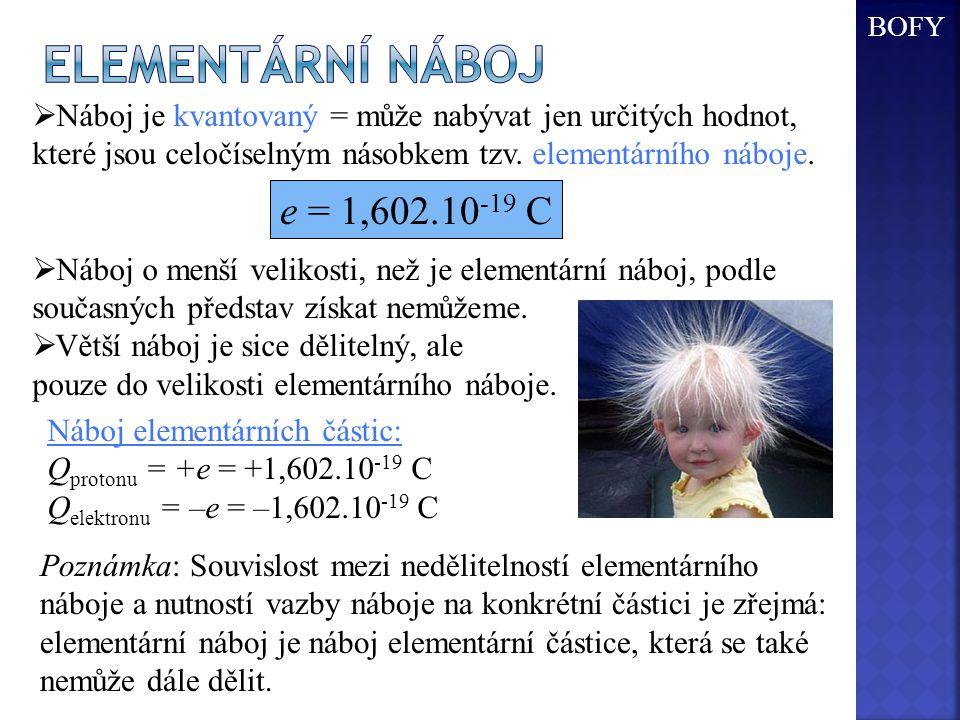 Elementární náboj e = 1,602.10-19 C