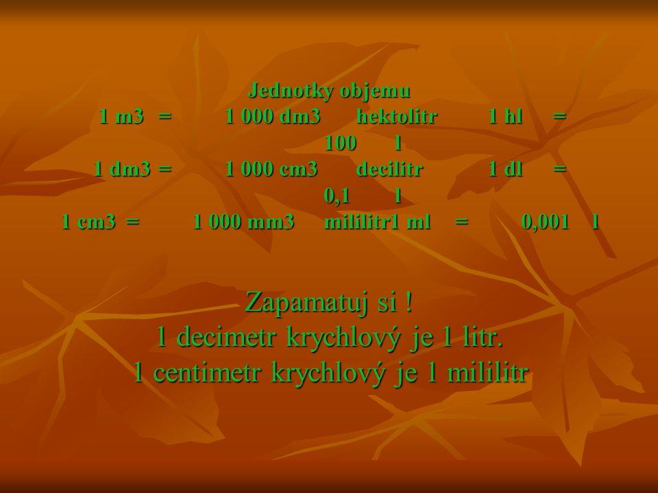 Jednotky objemu 1 m3 = 1 000 dm3 hektolitr 1 hl = 100 l 1 dm3 = 1 000 cm3 decilitr 1 dl = 0,1 l 1 cm3 = 1 000 mm3 mililitr 1 ml = 0,001 l