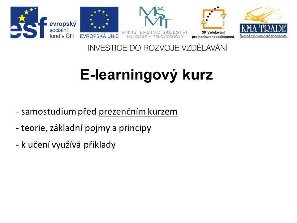 E-learningový kurz - samostudium před prezenčním kurzem