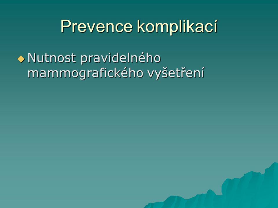 Prevence komplikací Nutnost pravidelného mammografického vyšetření
