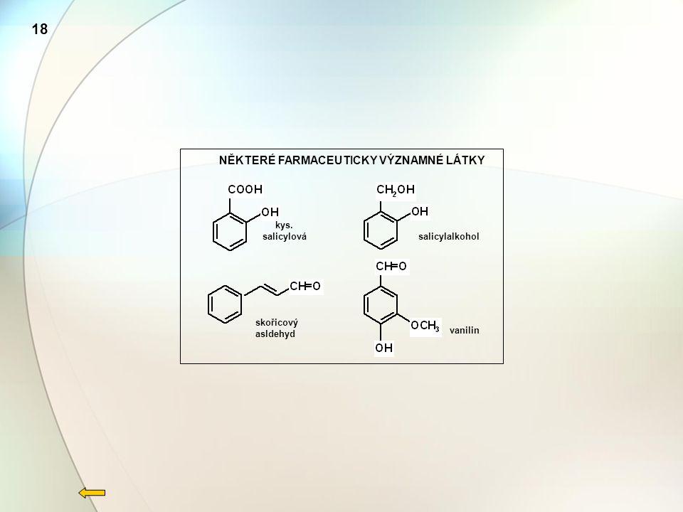 18 NĚKTERÉ FARMACEUTICKY VÝZNAMNÉ LÁTKY kys. salicylová salicylalkohol