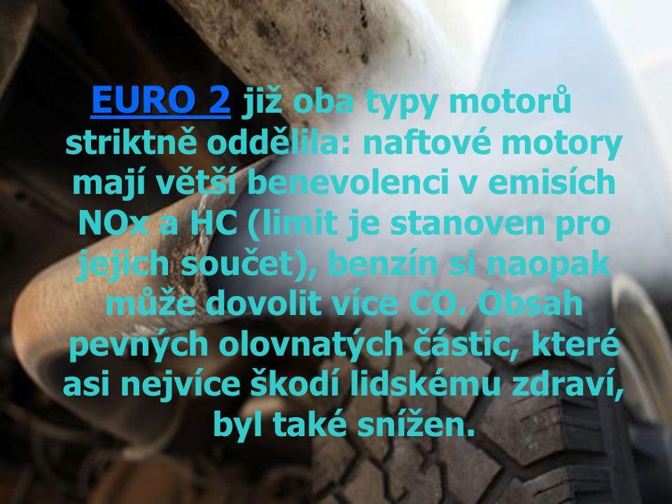 EURO 2 již oba typy motorů striktně oddělila: naftové motory mají větší benevolenci v emisích NOx a HC (limit je stanoven pro jejich součet), benzín si naopak může dovolit více CO.