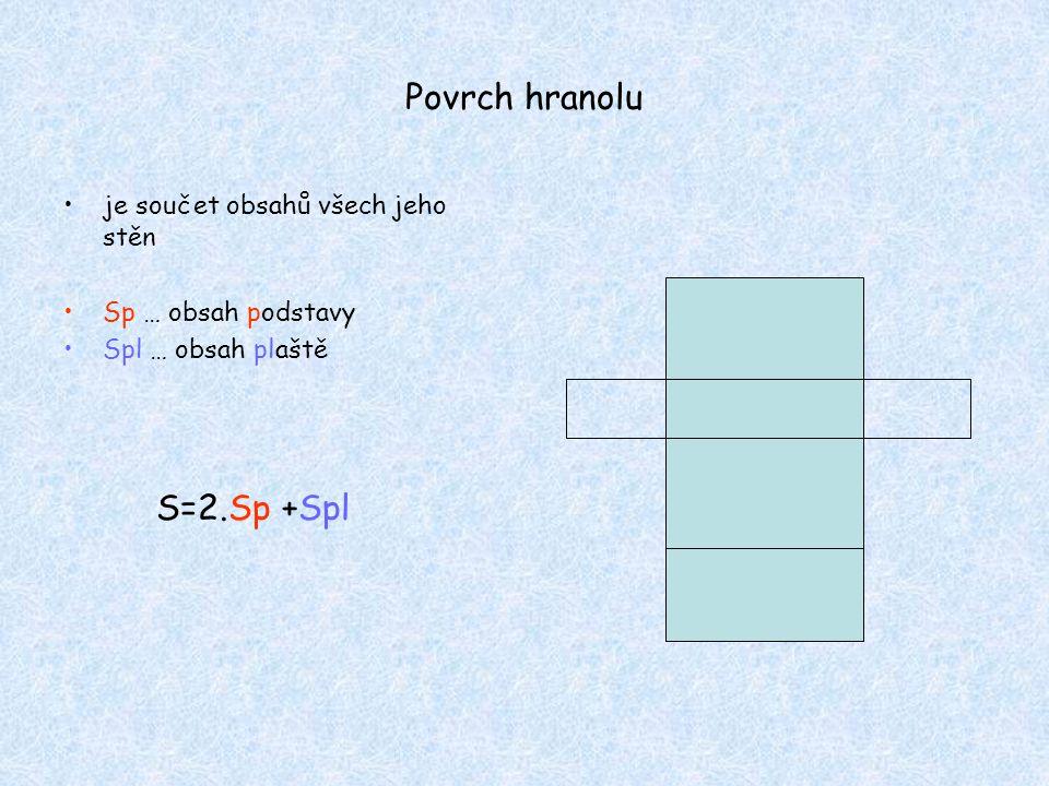 Povrch hranolu S=2.Sp +Spl je součet obsahů všech jeho stěn