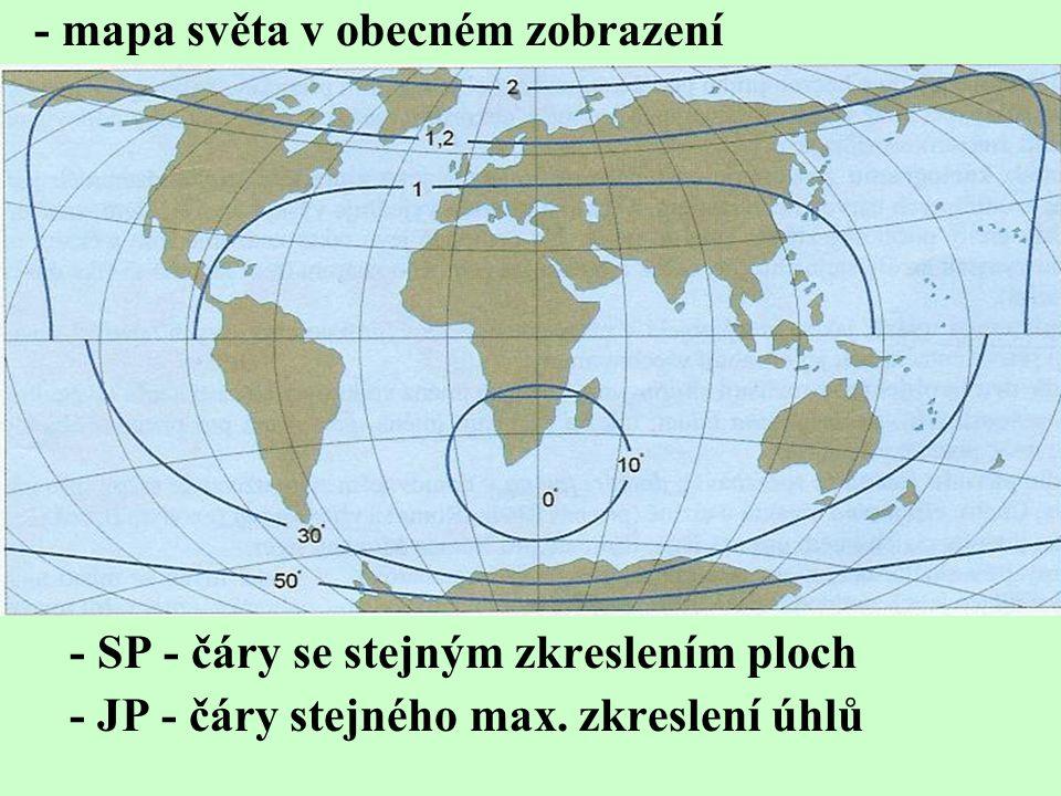 - mapa světa v obecném zobrazení
