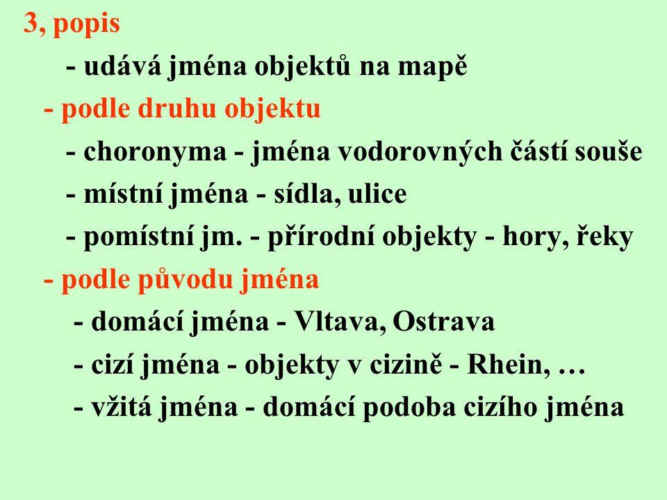 3, popis - udává jména objektů na mapě. - podle druhu objektu. - choronyma - jména vodorovných částí souše.