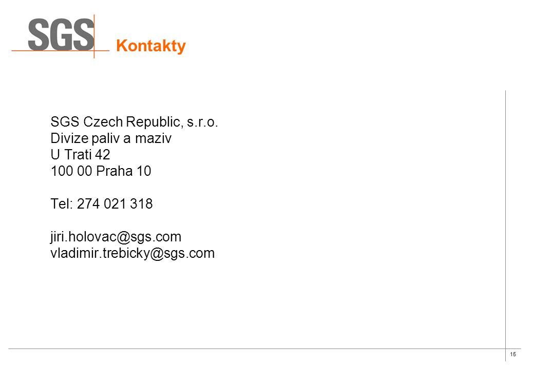 Kontakty SGS Czech Republic, s.r.o. Divize paliv a maziv U Trati 42