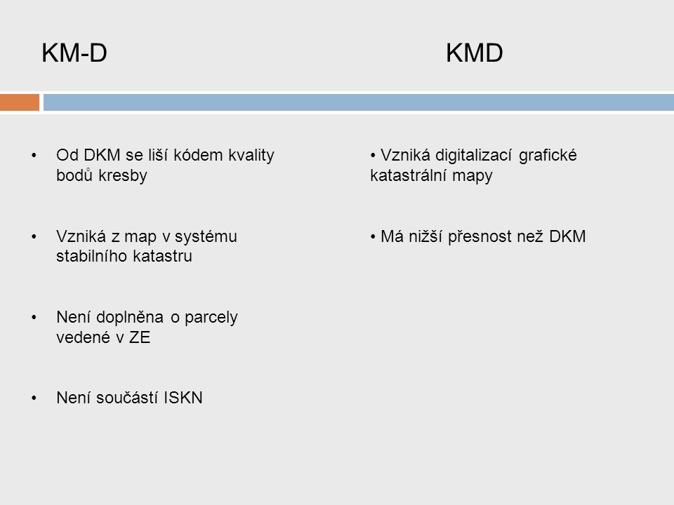 KM-D KMD Od DKM se liší kódem kvality bodů kresby